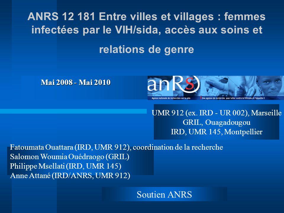 ANRS 12 181 Entre villes et villages : femmes infectées par le VIH/sida, accès aux soins et relations de genre Fatoumata Ouattara (IRD, UMR 912), coordination de la recherche Salomon Woumia Ouédraogo (GRIL) Philippe Msellati (IRD, UMR 145) Anne Attané (IRD/ANRS, UMR 912) Soutien ANRS Mai 2008 - Mai 2010 UMR 912 (ex.