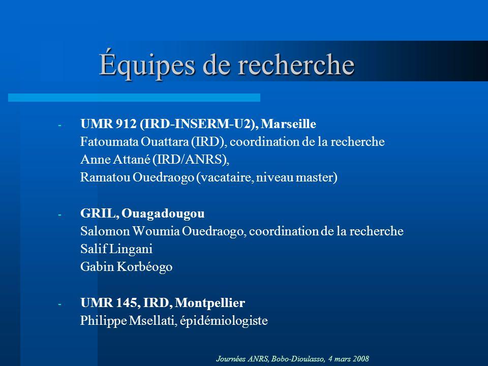 Journées ANRS, Bobo-Dioulasso, 4 mars 2008 Équipes de recherche - UMR 912 (IRD-INSERM-U2), Marseille Fatoumata Ouattara (IRD), coordination de la recherche Anne Attané (IRD/ANRS), Ramatou Ouedraogo (vacataire, niveau master) - GRIL, Ouagadougou Salomon Woumia Ouedraogo, coordination de la recherche Salif Lingani Gabin Korbéogo - UMR 145, IRD, Montpellier Philippe Msellati, épidémiologiste