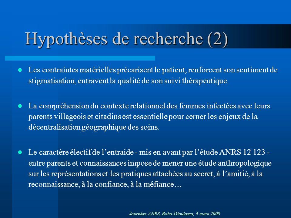 Journées ANRS, Bobo-Dioulasso, 4 mars 2008 Hypothèses de recherche (2) Les contraintes matérielles précarisent le patient, renforcent son sentiment de stigmatisation, entravent la qualité de son suivi thérapeutique.