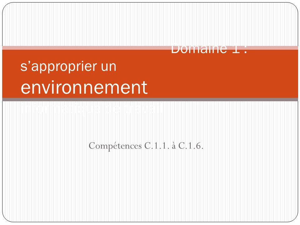 Compétences C.1.1. à C.1.6. Domaine 1 : sapproprier un environnement informatique de travail
