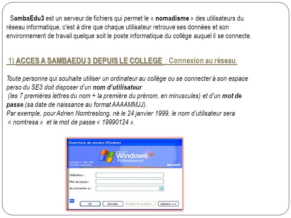 S ambaEdu3 est un serveur de fichiers qui permet le « nomadisme » des utilisateurs du réseau informatique, c est à dire que chaque utilisateur retrouve ses données et son environnement de travail quelque soit le poste informatique du collège auquel il se connecte.