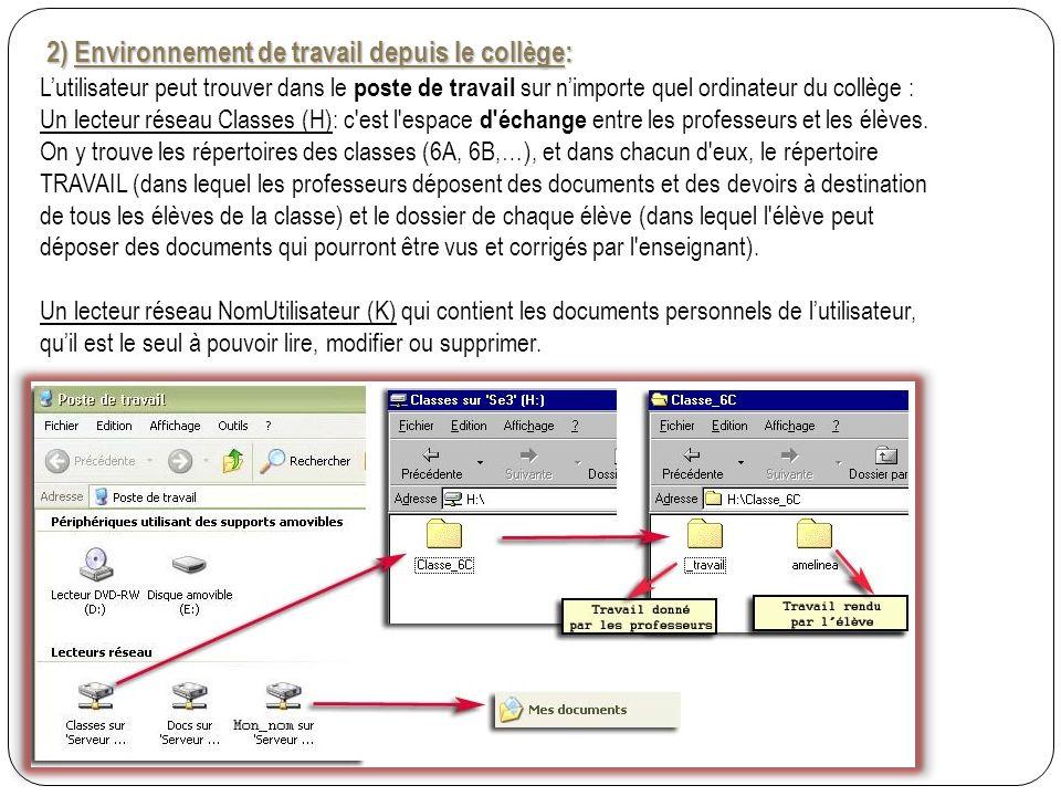 2) Environnement de travail depuis le collège: 2) Environnement de travail depuis le collège: Lutilisateur peut trouver dans le poste de travail sur nimporte quel ordinateur du collège : Un lecteur réseau Classes (H): c est l espace d échange entre les professeurs et les élèves.