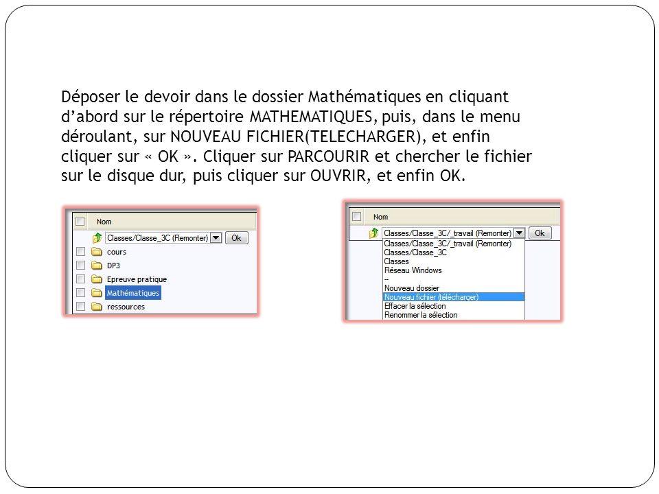 Déposer le devoir dans le dossier Mathématiques en cliquant dabord sur le répertoire MATHEMATIQUES, puis, dans le menu déroulant, sur NOUVEAU FICHIER(TELECHARGER), et enfin cliquer sur « OK ».