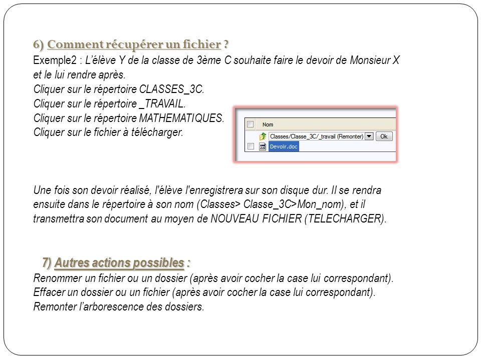 6) Comment récupérer un fichier .