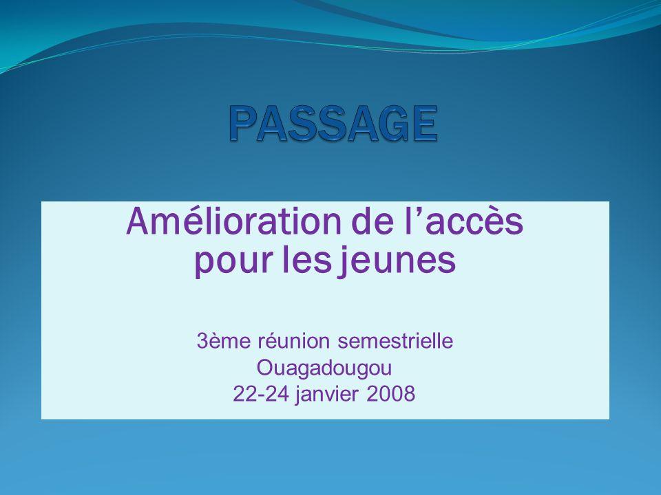 Amélioration de laccès pour les jeunes 3ème réunion semestrielle Ouagadougou 22-24 janvier 2008