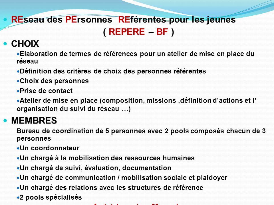 REseau des PErsonnes REférentes pour les jeunes ( REPERE – BF ) CHOIX Elaboration de termes de références pour un atelier de mise en place du réseau D