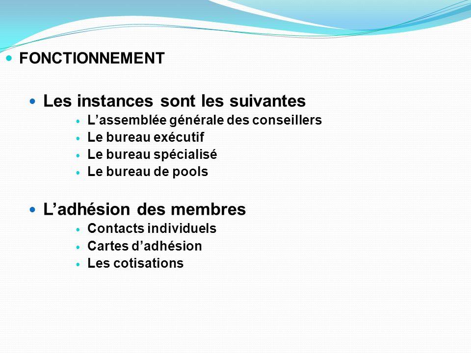 FONCTIONNEMENT Les instances sont les suivantes Lassemblée générale des conseillers Le bureau exécutif Le bureau spécialisé Le bureau de pools Ladhési