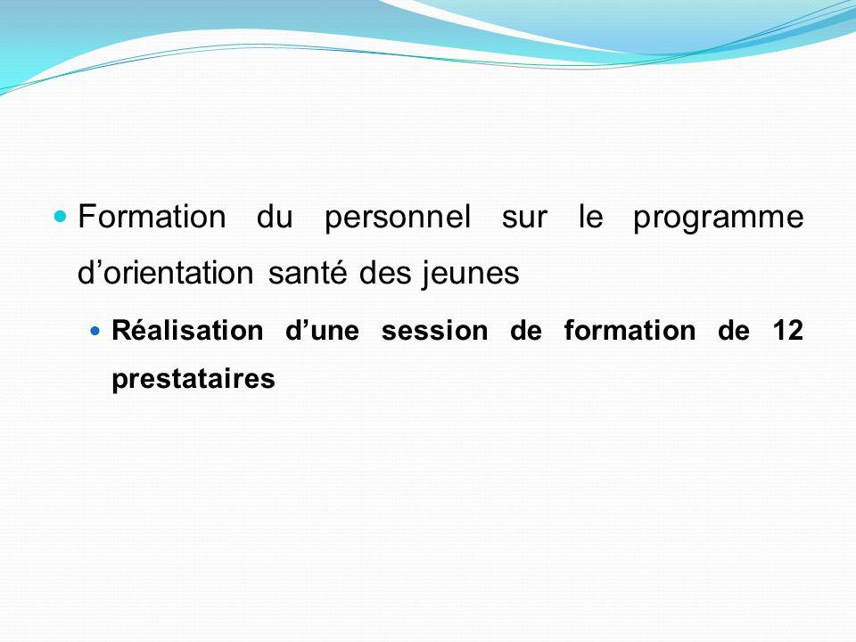 Formation du personnel sur le programme dorientation santé des jeunes Réalisation dune session de formation de 12 prestataires