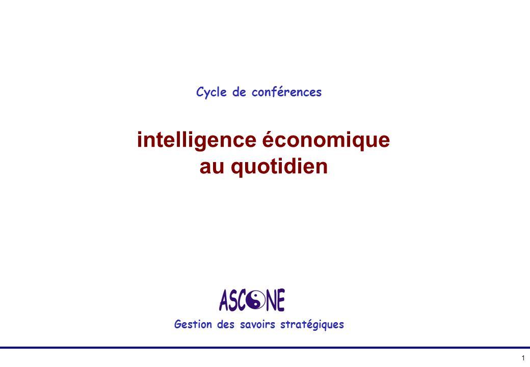 intelligence économique au quotidien Gestion des savoirs stratégiques Cycle de conférences 1