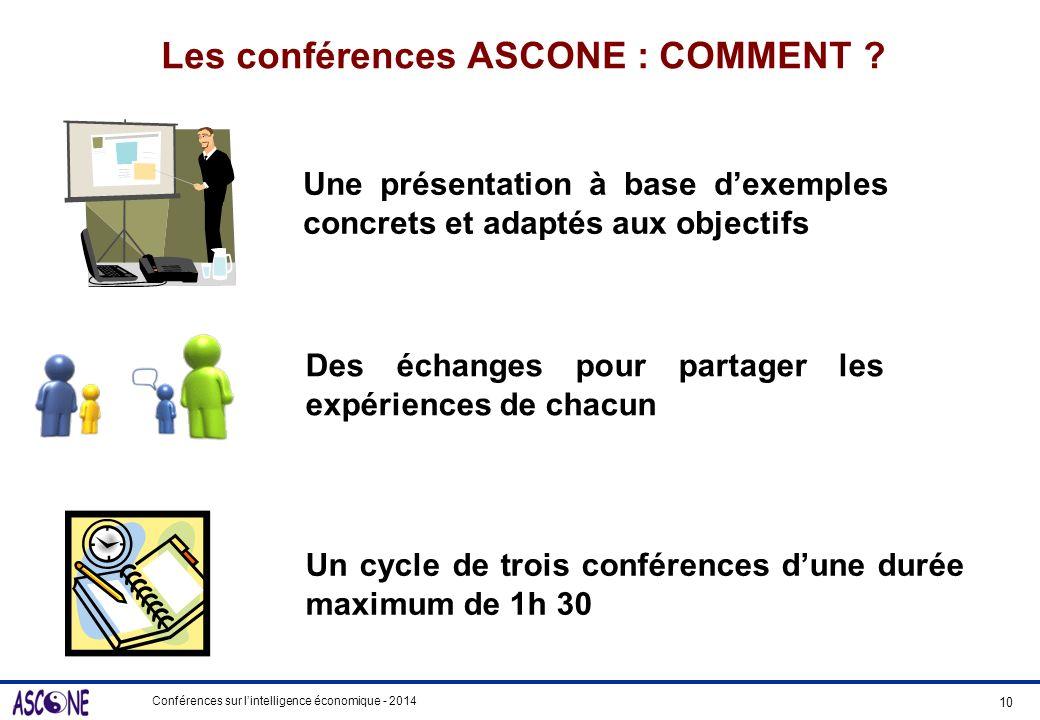 Conférences sur lintelligence économique - 2014 Les conférences ASCONE : COMMENT ? Une présentation à base dexemples concrets et adaptés aux objectifs