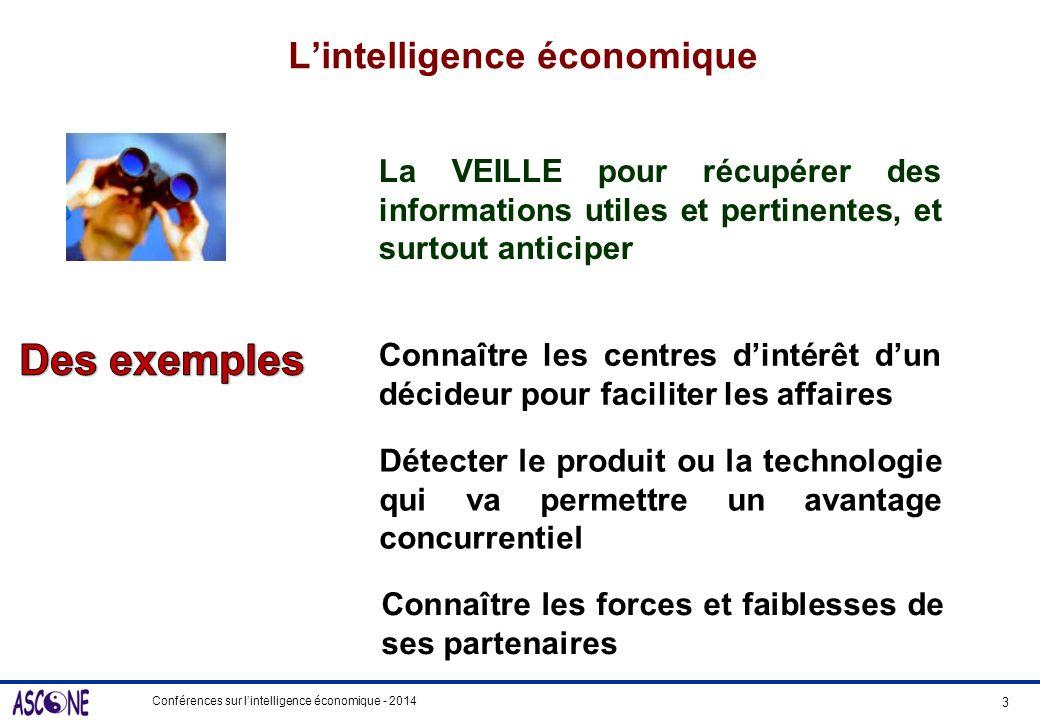 Conférences sur lintelligence économique - 2014 Lintelligence économique La VEILLE pour récupérer des informations utiles et pertinentes, et surtout a