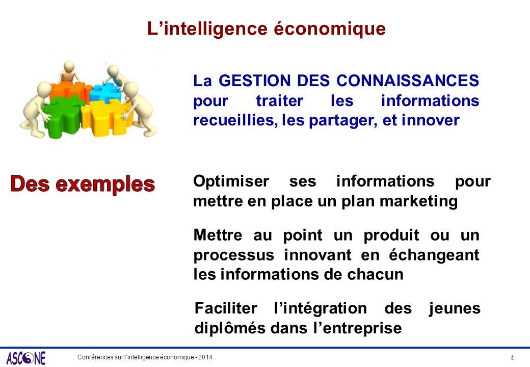 Conférences sur lintelligence économique - 2014 Lintelligence économique 4 La GESTION DES CONNAISSANCES pour traiter les informations recueillies, les