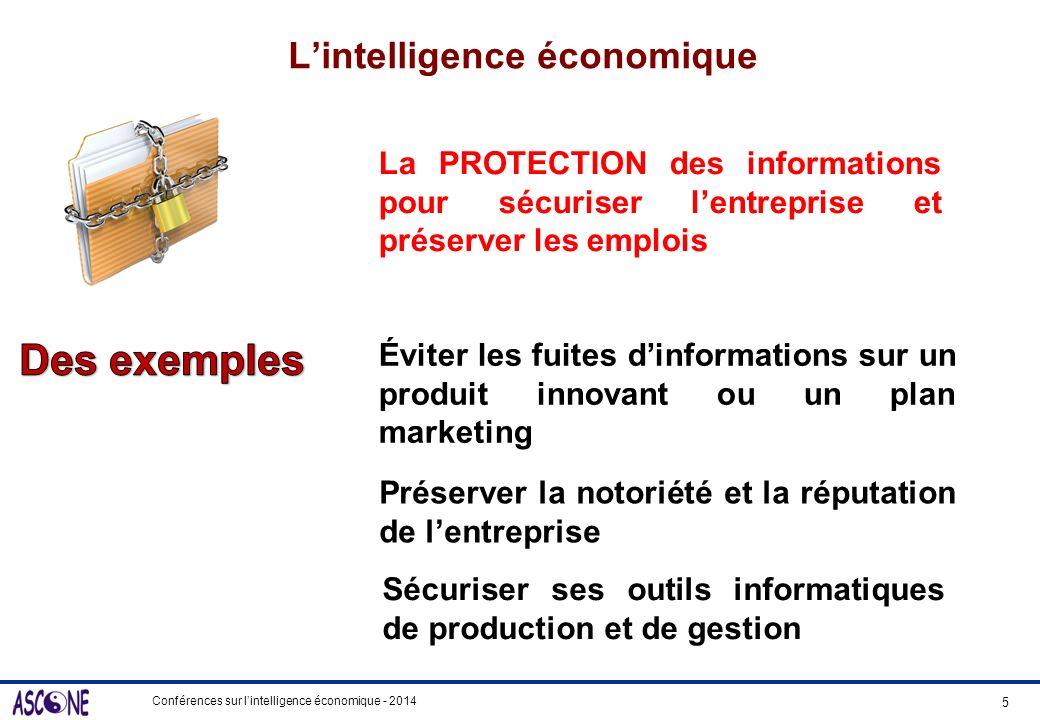 Conférences sur lintelligence économique - 2014 Lintelligence économique 5 La PROTECTION des informations pour sécuriser lentreprise et préserver les