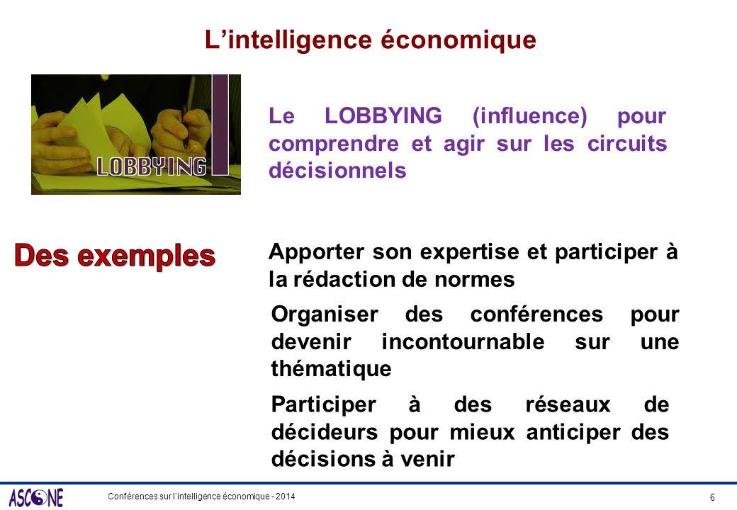 Conférences sur lintelligence économique - 2014 Lintelligence économique 6 Le LOBBYING (influence) pour comprendre et agir sur les circuits décisionne