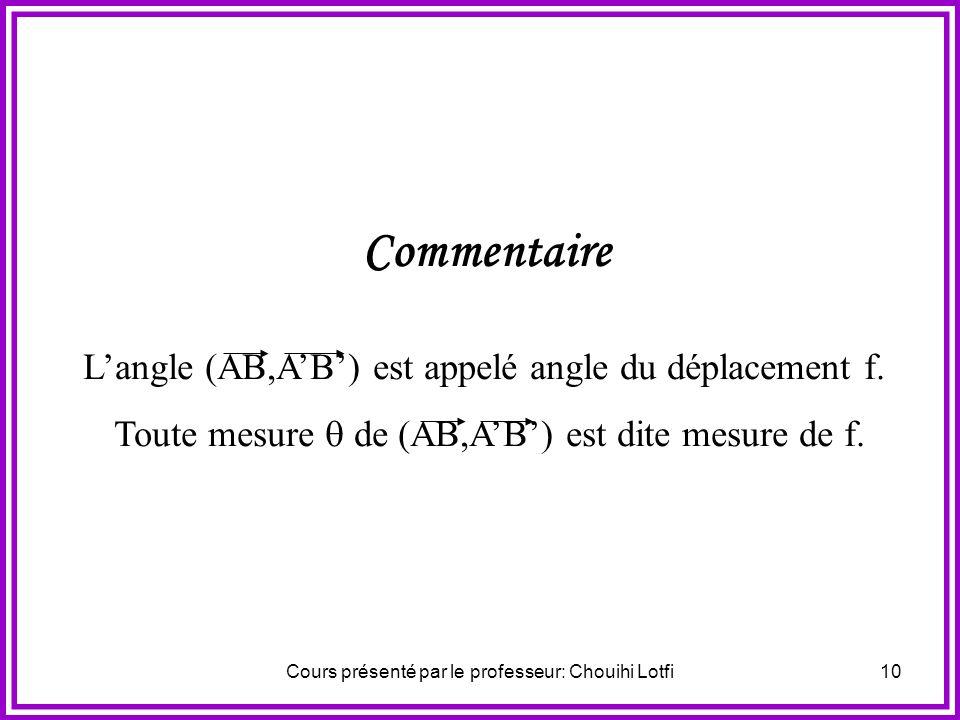 Cours présenté par le professeur: Chouihi Lotfi9 1) Activité Soient A et B deux points distincts dimages respectives A et B par un déplacement f. On p