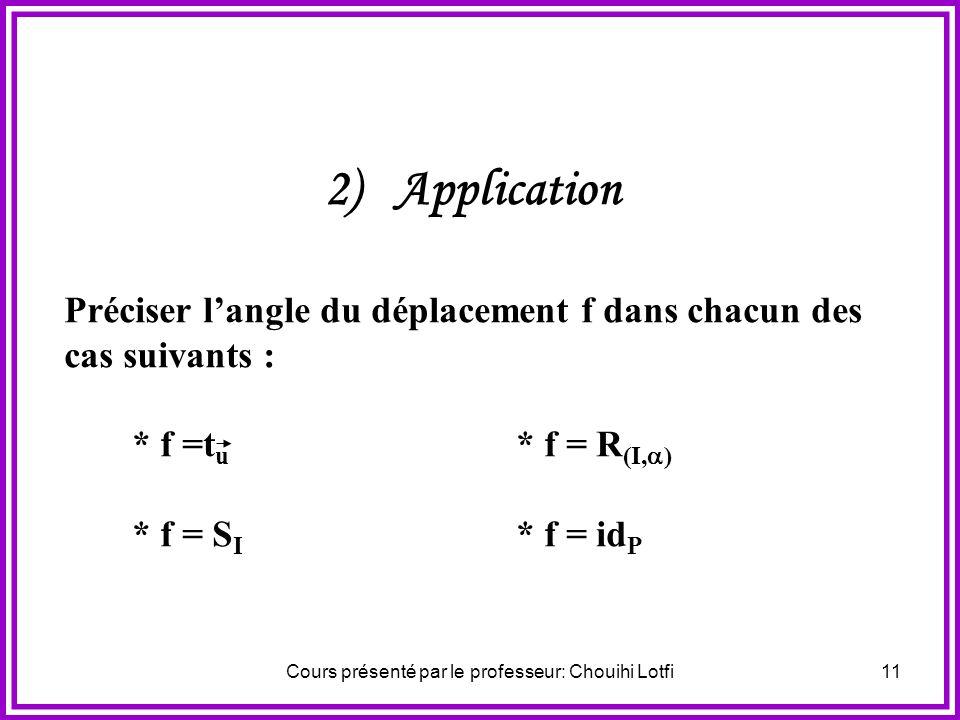 Cours présenté par le professeur: Chouihi Lotfi10 Commentaire Langle (AB,AB) est appelé angle du déplacement f. Toute mesure de (AB,A B ) est dite mes