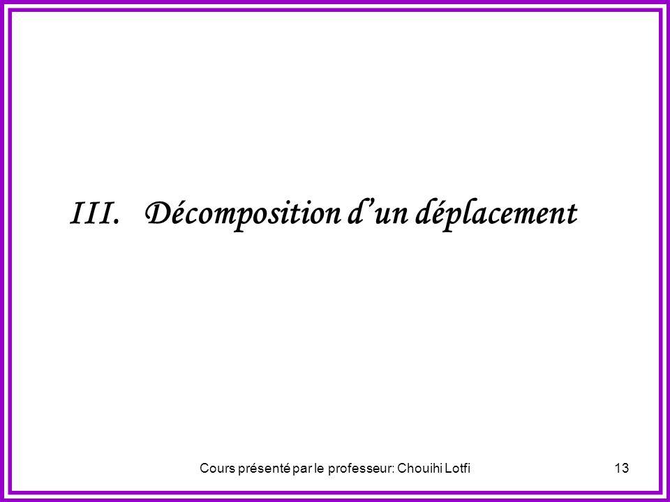 Cours présenté par le professeur: Chouihi Lotfi12 3) Théorème La composée de deux déplacements et un déplacement dangle la somme des angles. La récipr