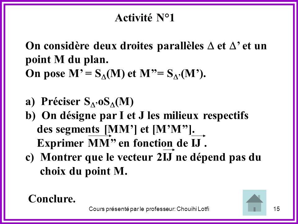 Cours présenté par le professeur: Chouihi Lotfi14 1) T ranslation
