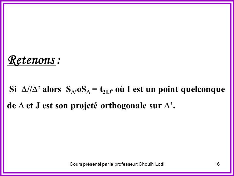 Cours présenté par le professeur: Chouihi Lotfi15 Activité N°1 On considère deux droites parallèles et et un point M du plan. On pose M = S (M) et M =