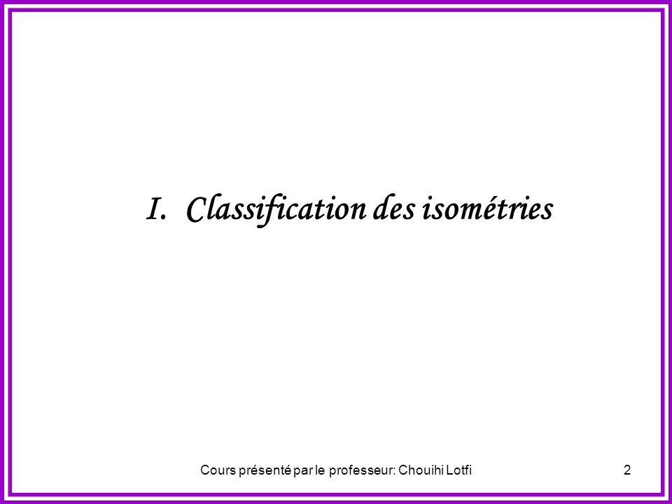 Cours présenté par le professeur: Chouihi Lotfi22 Activité N°2 Étant donnés un point I et un réel, en s inspirant du résultat précédent déterminer une décomposition de la rotation de centre I et d angle en deux symétries orthogonales.