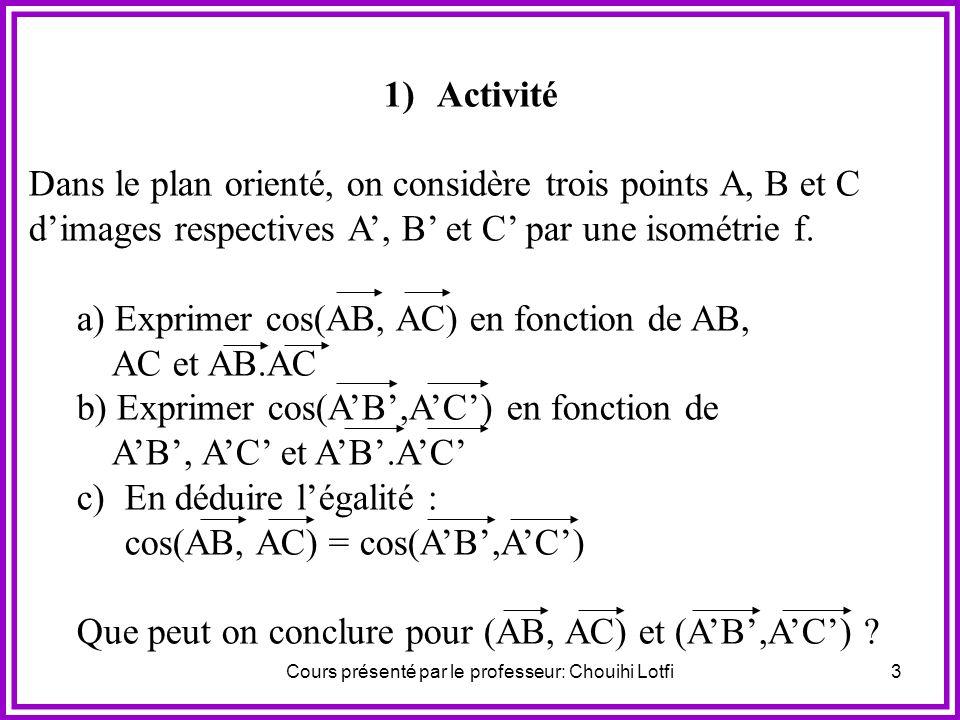 Cours présenté par le professeur: Chouihi Lotfi23 Retenons : Toute rotation R (I, ) se décompose, d une infinité de manières, sous la forme R (I, ) = S (Iy) oS (Ix) avec ( Ix, Iy ) ½ [ ]