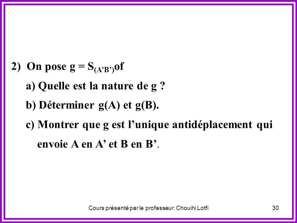 Cours présenté par le professeur: Chouihi Lotfi29 Activité Soient A, B, A et B quatre points du plan vérifiant: AB = AB et AB 0. 1) On désigne par une