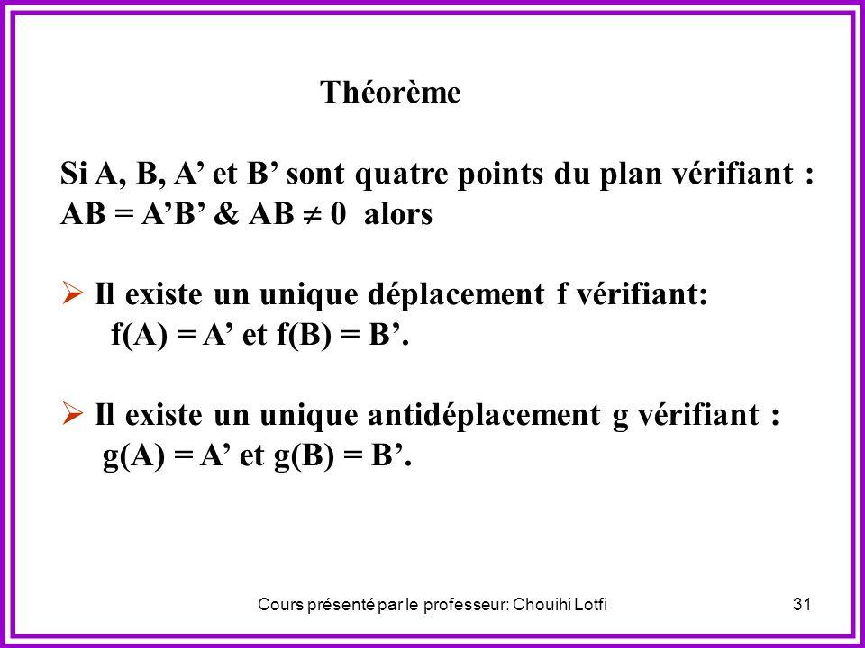 Cours présenté par le professeur: Chouihi Lotfi30 2) On pose g = S (AB) of a) Quelle est la nature de g ? b) Déterminer g(A) et g(B). c) Montrer que g