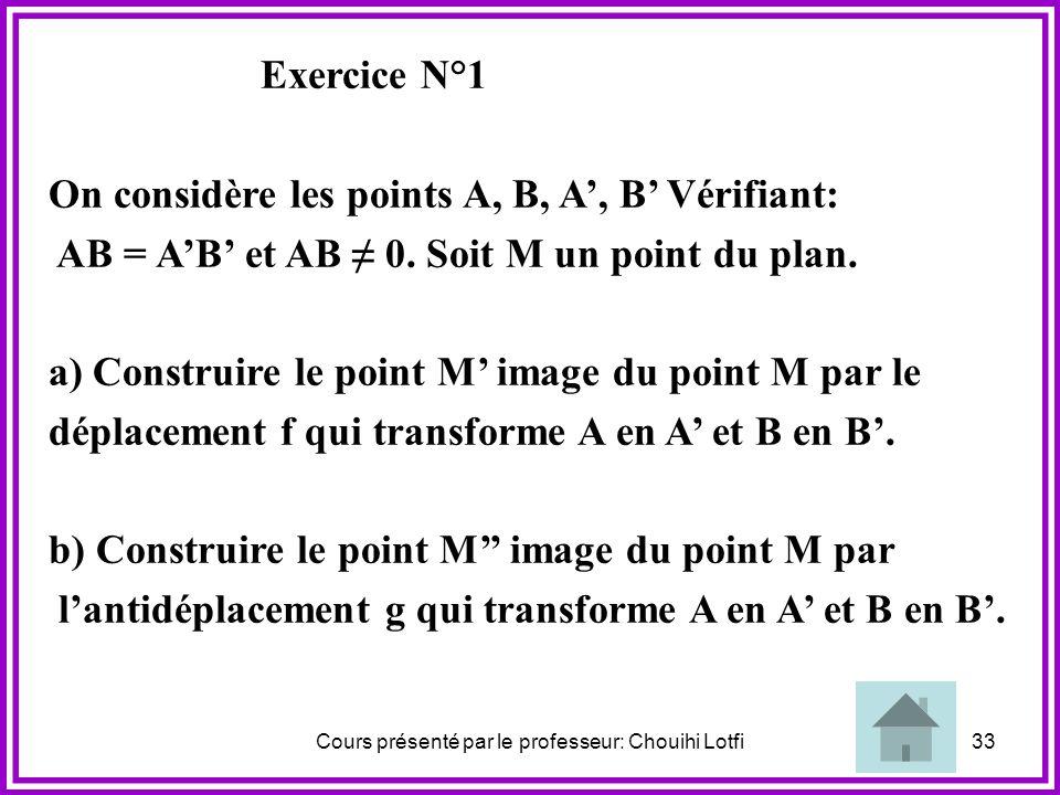 Cours présenté par le professeur: Chouihi Lotfi32 N.B : Le théorème précédent prouve les assertions suivantes : U n déplacement est parfaitement déter