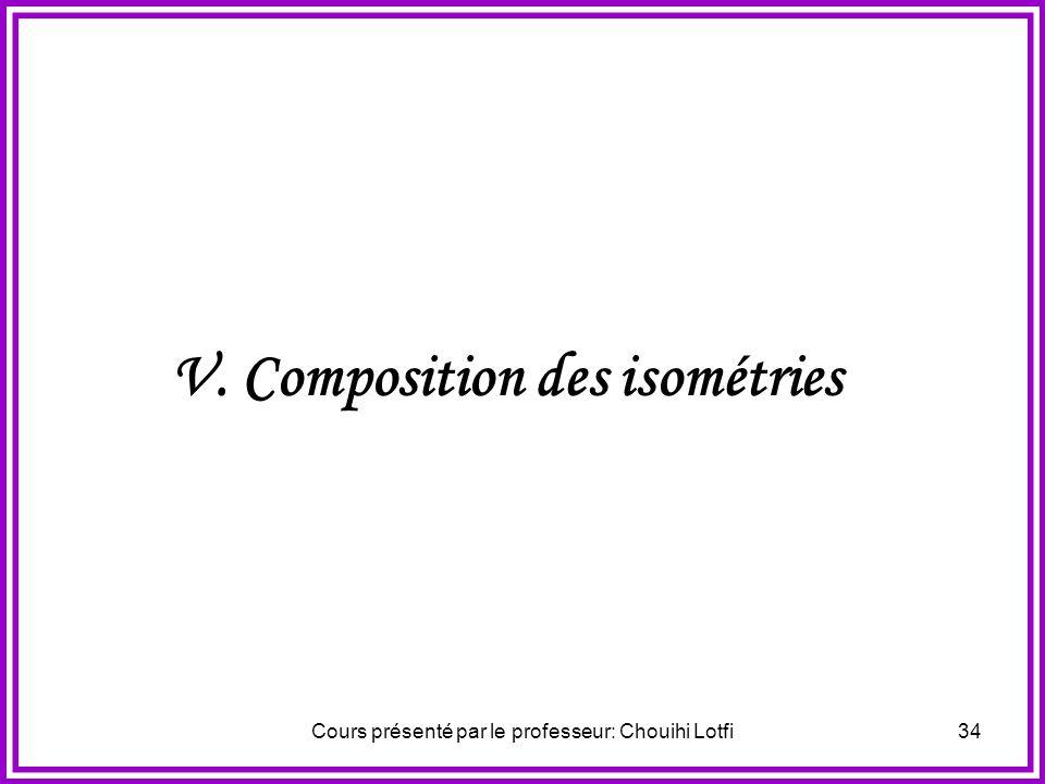 Cours présenté par le professeur: Chouihi Lotfi33 Exercice N°1 On considère les points A, B, A, B Vérifiant: AB = AB et AB 0. Soit M un point du plan.