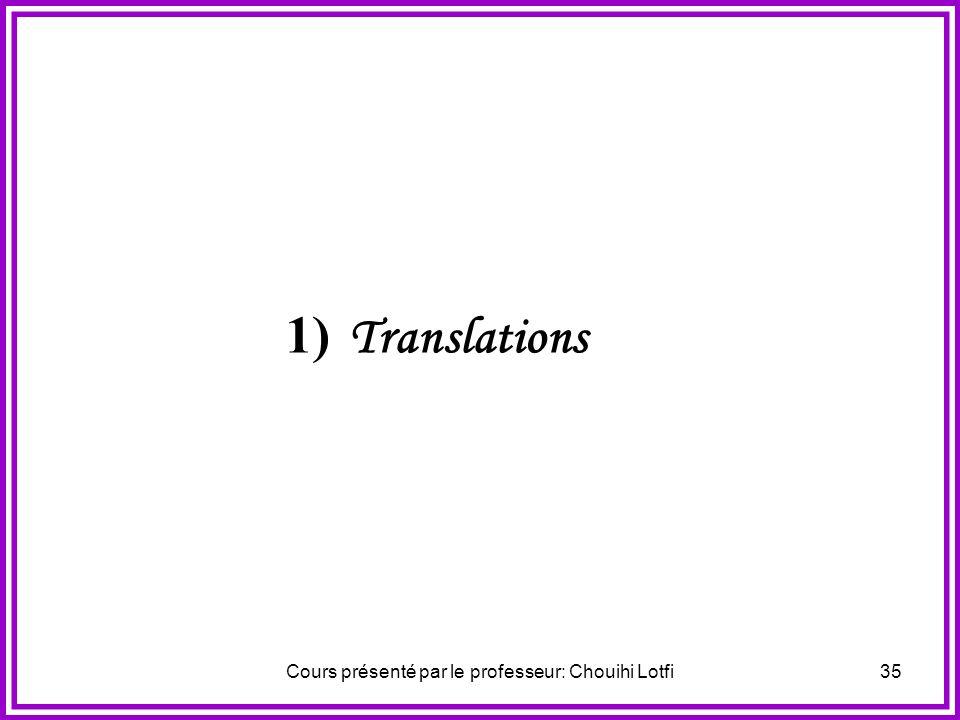 Cours présenté par le professeur: Chouihi Lotfi34 V. Composition des isométries