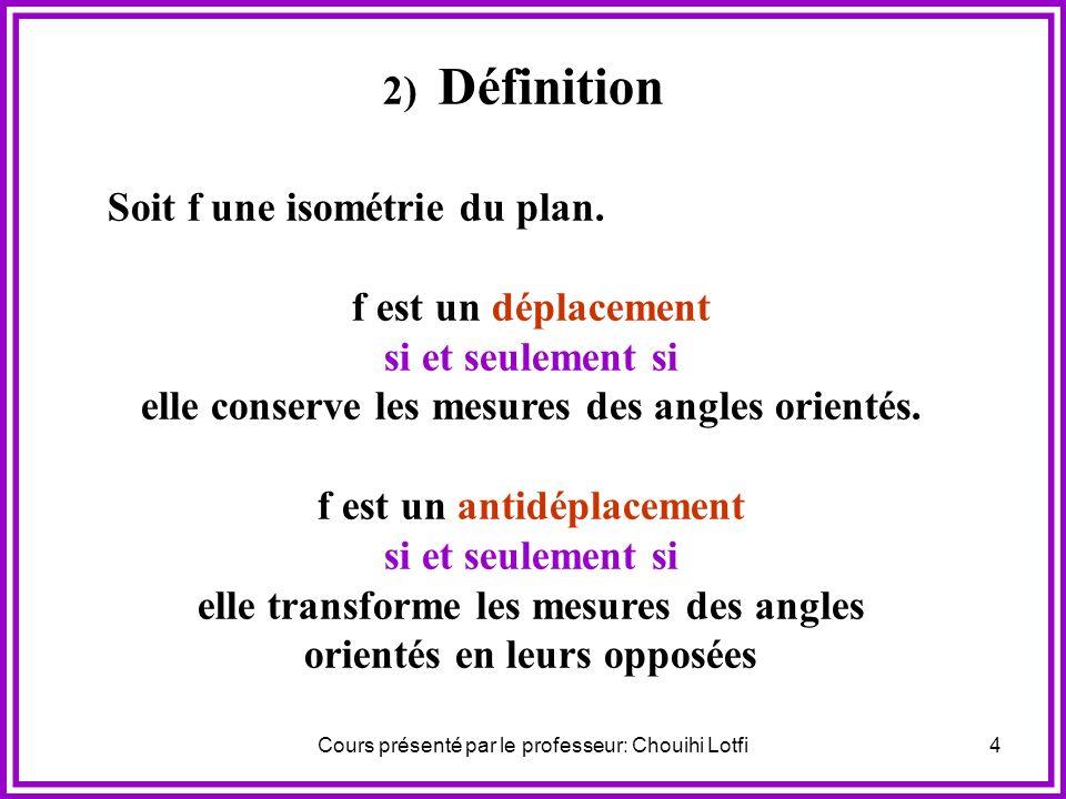 Cours présenté par le professeur: Chouihi Lotfi4 2) Définition Soit f une isométrie du plan.