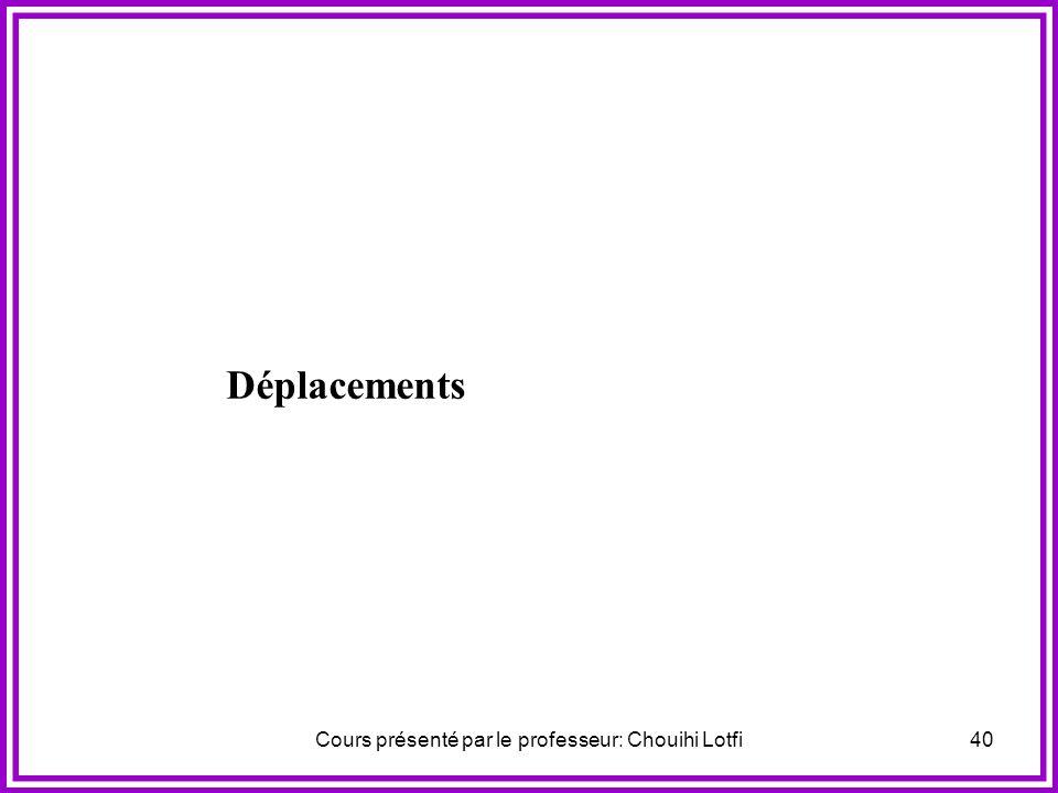 Cours présenté par le professeur: Chouihi Lotfi39 Déplacements