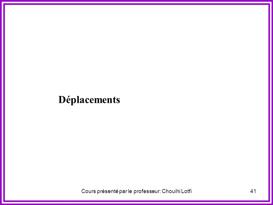 Cours présenté par le professeur: Chouihi Lotfi40 Déplacements
