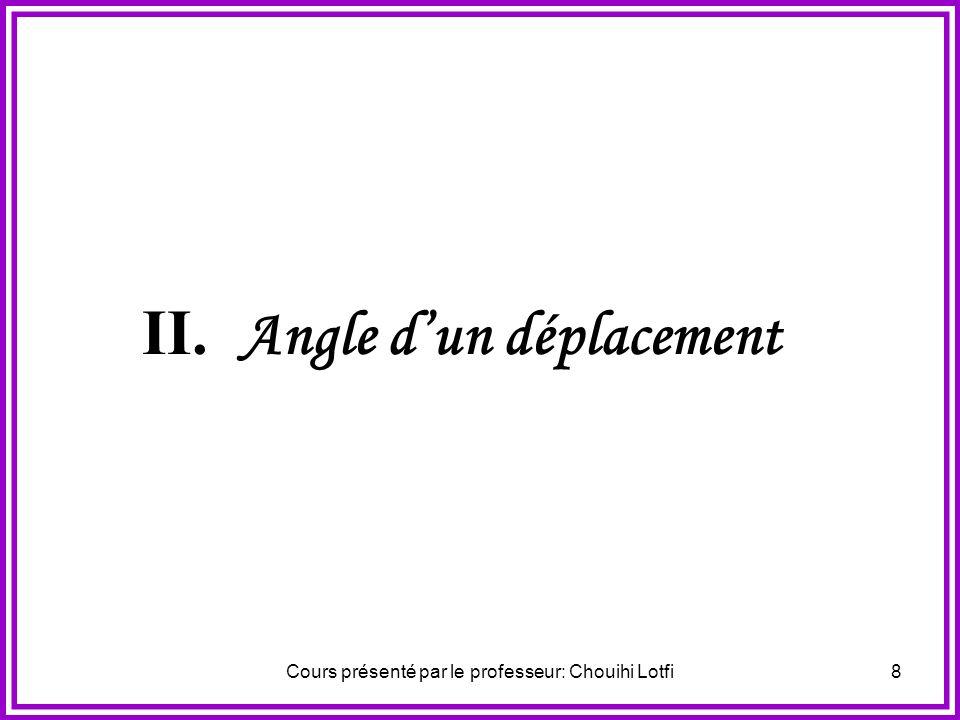 Cours présenté par le professeur: Chouihi Lotfi7 Isométrie Déplacement La composée dun nombre pair de symétries orthogonales Se ramène à la composée d