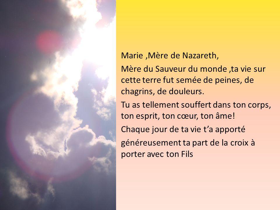 Marie,Mère de Nazareth, Mère du Sauveur du monde,ta vie sur cette terre fut semée de peines, de chagrins, de douleurs. Tu as tellement souffert dans t