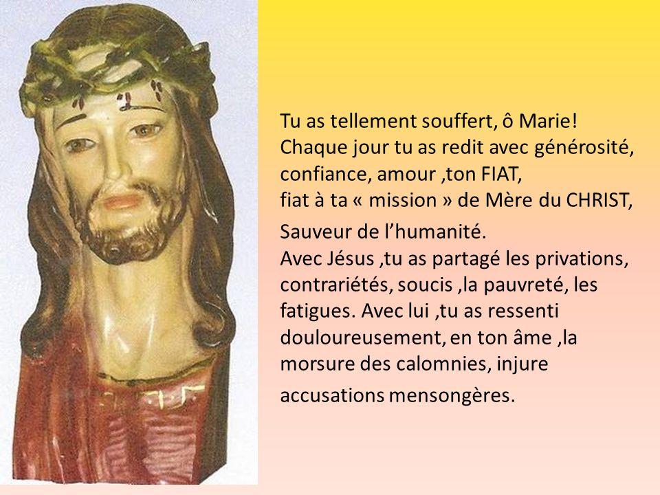 Tu as tellement souffert, ô Marie! Chaque jour tu as redit avec générosité, confiance, amour,ton FIAT, fiat à ta « mission » de Mère du CHRIST, Sauveu