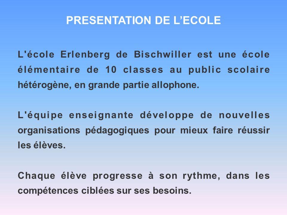 PRESENTATION DE LECOLE L'école Erlenberg de Bischwiller est une école élémentaire de 10 classes au public scolaire hétérogène, en grande partie alloph