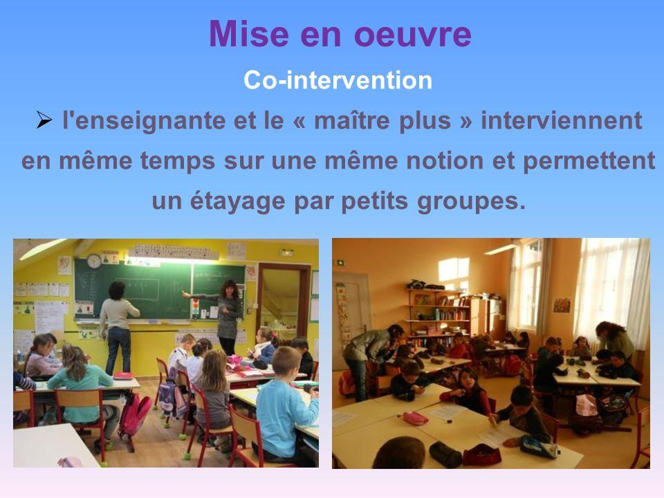 Mise en oeuvre Co-intervention l'enseignante et le « maître plus » interviennent en même temps sur une même notion et permettent un étayage par petits