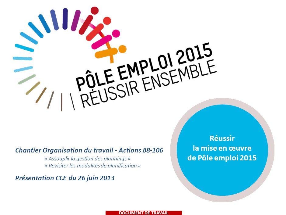 Réussir la mise en œuvre de Pôle emploi 2015 Présentation CCE du 26 juin 2013 Chantier Organisation du travail - Actions 88-106 « Assouplir la gestion