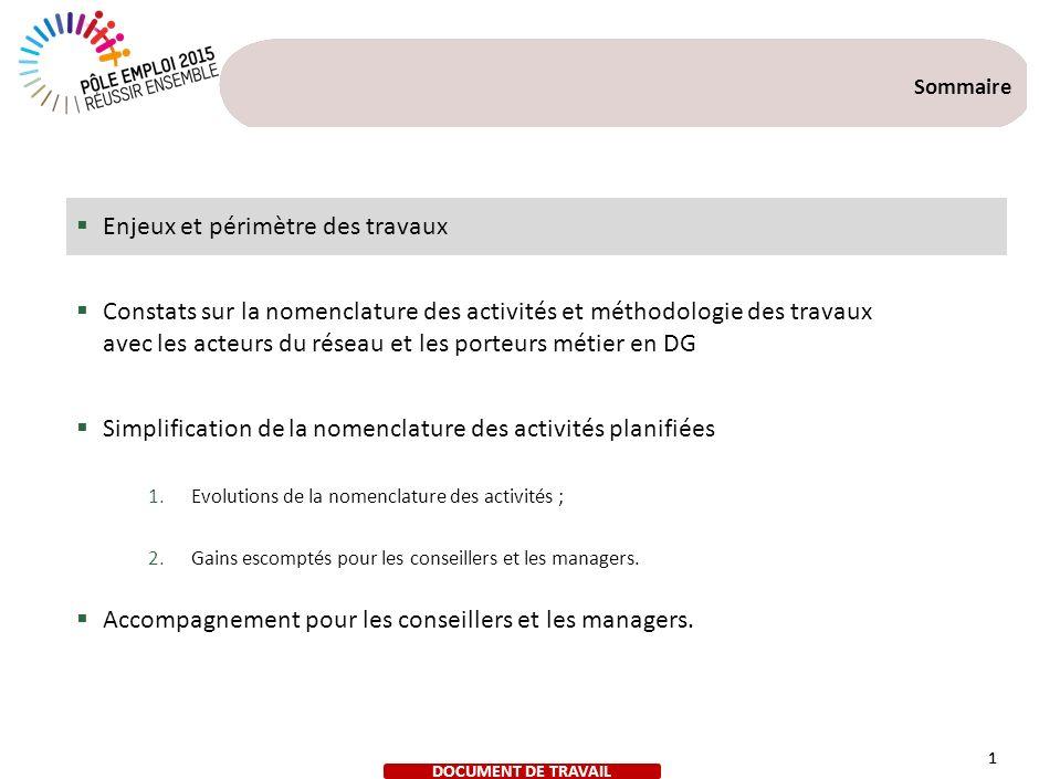 1 Sommaire Enjeux et périmètre des travaux Constats sur la nomenclature des activités et méthodologie des travaux avec les acteurs du réseau et les po