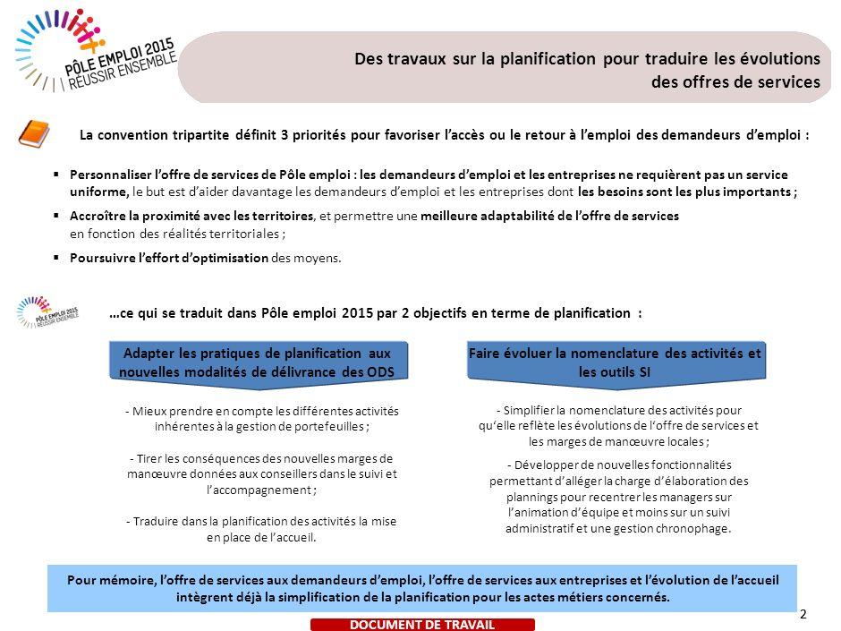 2 Des travaux sur la planification pour traduire les évolutions des offres de services 2 Personnaliser loffre de services de Pôle emploi : les demande