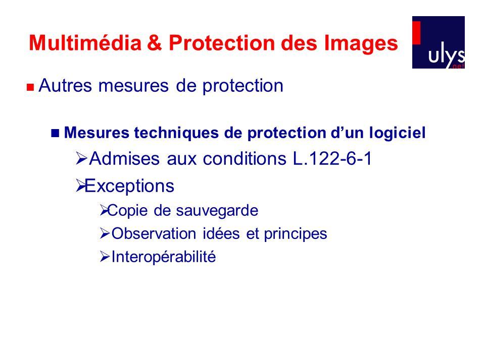 Multimédia & Protection des Images Autres mesures de protection Mesures techniques de protection dun logiciel Admises aux conditions L.122-6-1 Exceptions Copie de sauvegarde Observation idées et principes Interopérabilité