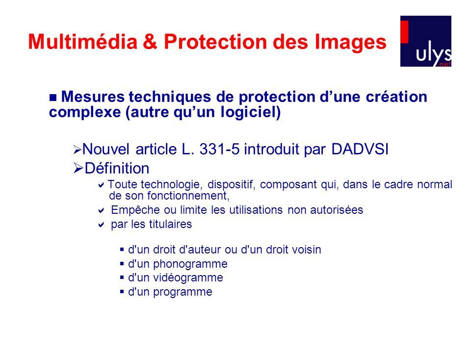 Multimédia & Protection des Images Mesures techniques de protection dune création complexe (autre quun logiciel) Nouvel article L.