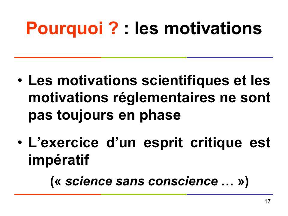 17 Pourquoi ? : les motivations Les motivations scientifiques et les motivations réglementaires ne sont pas toujours en phase Lexercice dun esprit cri