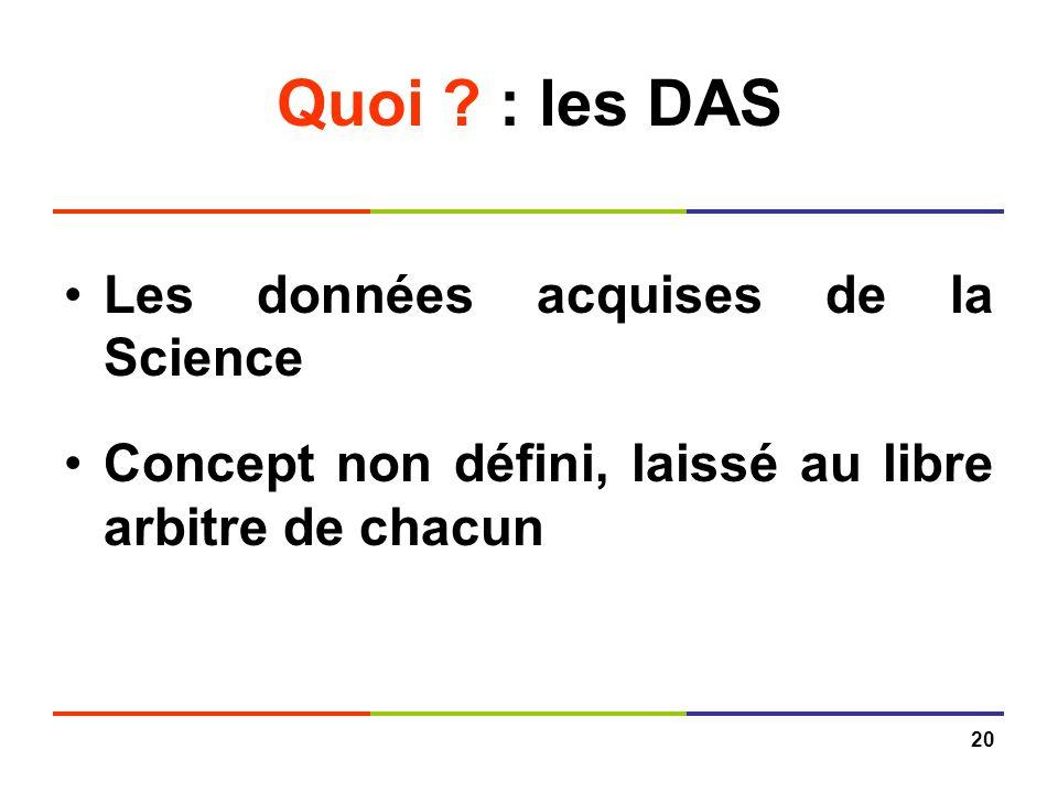 20 Quoi ? : les DAS Les données acquises de la Science Concept non défini, laissé au libre arbitre de chacun