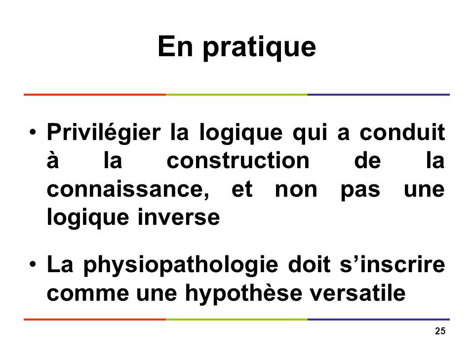 25 En pratique Privilégier la logique qui a conduit à la construction de la connaissance, et non pas une logique inverse La physiopathologie doit sins