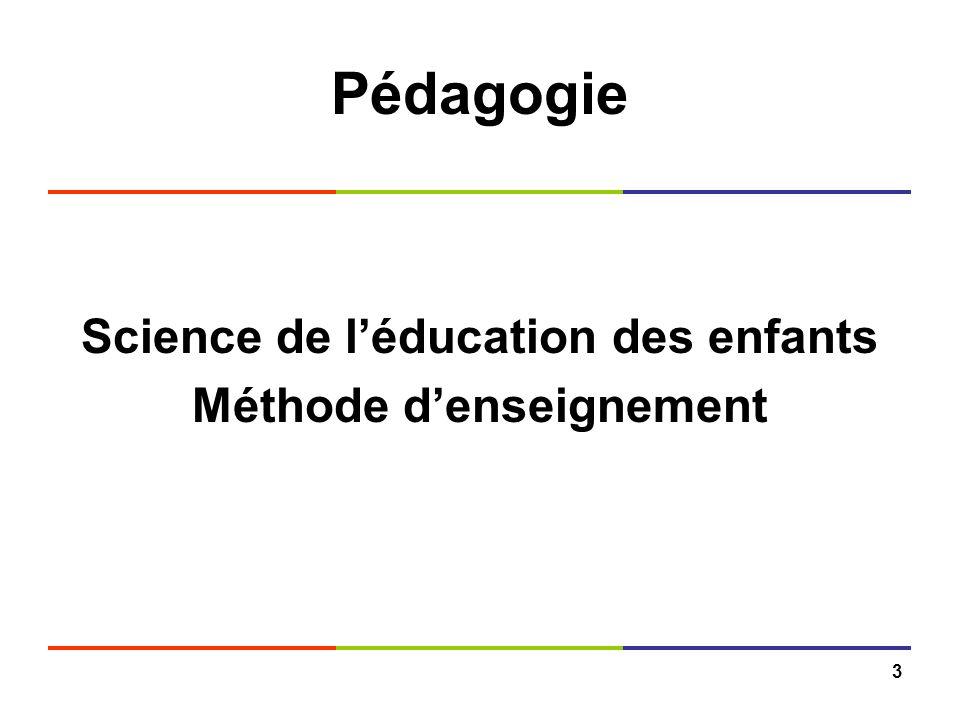 3 Pédagogie Science de léducation des enfants Méthode denseignement
