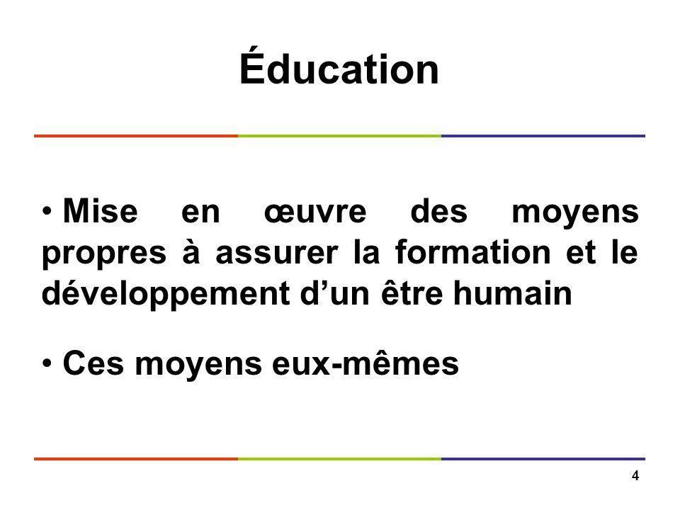 4 Éducation Mise en œuvre des moyens propres à assurer la formation et le développement dun être humain Ces moyens eux-mêmes