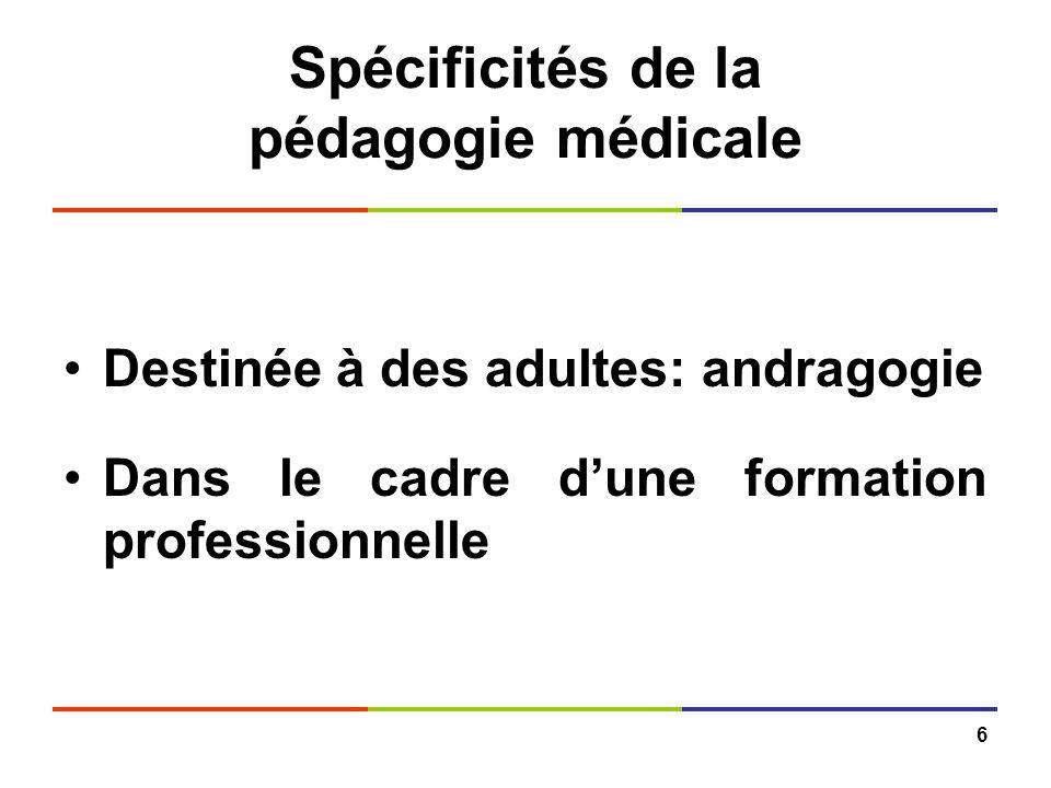 6 Spécificités de la pédagogie médicale Destinée à des adultes: andragogie Dans le cadre dune formation professionnelle