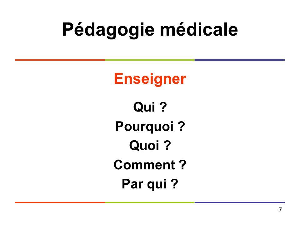 7 Pédagogie médicale Enseigner Qui ? Pourquoi ? Quoi ? Comment ? Par qui ?